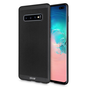 A supremely precision engineered lightweight slimline case in black with a perforated mesh pattern that looks great, adds grip and aids heat dissipation from your Galaxy S10 Plus, as well as enhance the high performance beauty of the device.