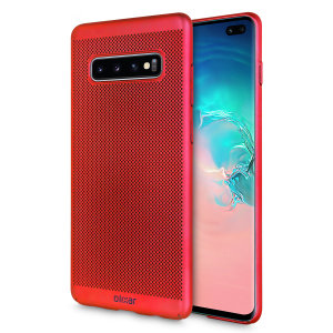 A supremely precision engineered lightweight slimline case in red with a perforated mesh pattern that looks great, adds grip and aids heat dissipation from your Galaxy S10 Plus, as well as enhance the high performance beauty of the device.