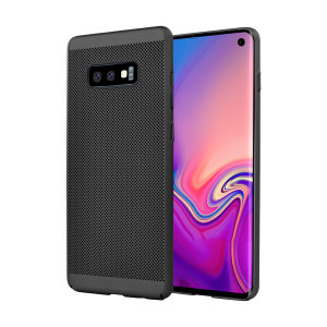 A supremely precision engineered lightweight slimline case in black with a perforated mesh pattern that looks great, adds grip and aids heat dissipation from your Galaxy S10e, as well as enhance the high performance beauty of the device.