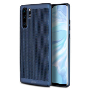 A supremely precision engineered lightweight slimline case in blue with a perforated mesh pattern that looks great, adds grip and aids heat dissipation from your Huawei P30 Pro, as well as enhance the high performance beauty of the device.