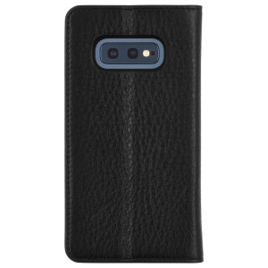 Crafted from genuine leather, this Case-Mate Folio Case provides premium protection for your Samsung Galaxy S10e. The interior of the case features a built-in stand and slots for your cards and document.