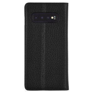 Crafted from genuine leather, this Case-Mate Folio Case provides premium protection for your Samsung Galaxy S10. The interior of the case features a built-in stand and slots for your cards and document.