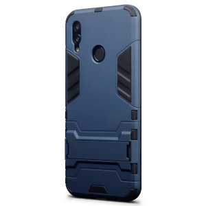 Protect your Huawei P Smart 2019 from bumps and scrapes with this blue dual layer armour case. Comprised of an inner TPU section and an outer impact-resistant exoskeleton, with a built-in viewing stand.