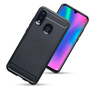 Flexible rugged casing with a premium matte finish non-slip carbon fibre and brushed metal design, the Olixar case in black keeps your Huawei P Smart 2019 protected.