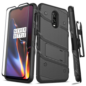 Equip your OnePlus 6T with military grade protection and superb functionality with the ultra-rugged Bolt case in black from Zizo. Coming complete with a handy belt clip and integrated kickstand.