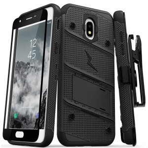 Equip your Samsung Galaxy J7 2018 with military grade protection and superb functionality with the ultra-rugged Bolt case in black from Zizo. Coming complete with a handy belt clip and integrated kickstand.
