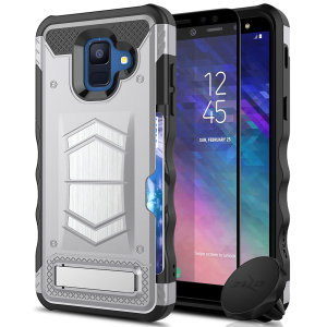 Equip your Samsung Galaxy A6 with heavy duty protection and functionality with the Electro case in silver from Zizo. Coming complete with an integrated kickstand and card slot. Additionally the case comes with a car vent holder and glass screen protector.