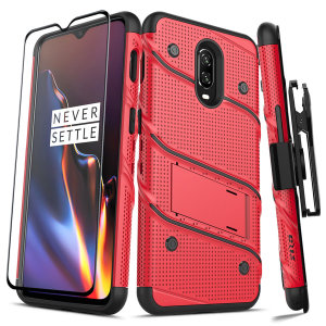 Equip your OnePlus 6T with military grade protection and superb functionality with the ultra-rugged Bolt case in red / black from Zizo. Coming complete with a handy belt clip and integrated kickstand.