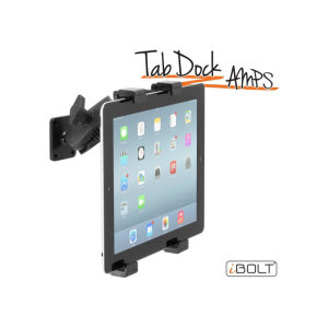 The iBOLT TabDock AMPs is a heavy duty, multi-angle drill base pedestal mounting solution for all tables from 7 to 10 inches. Designed to be installed directly to any flat surface.