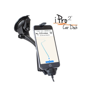 The iPro2 is an iPhone car mounting solution that can be mounted on the dashboard or windshield. This MFI approved car-dock features an integrated lighting connector. Additionally, Open camera view allows for dash cam functionality
