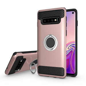 Made for the Samsung Galaxy S10, this tough rose gold ArmaRing case from Olixar provides extreme protection and a finger loop to keep your phone in your hand, whether from accidental drops or attempted theft. Also doubles as a stand