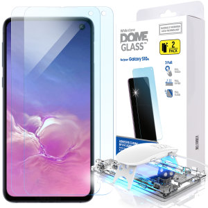 The Dome Glass screen protector twin pack for Galaxy S10e from Whitestone uses a proprietary UV adhesive installation to ensure a perfect fit for your device.  Featuring 9H hardness for absolute protection, as well as 100% touch sensitivity retention.