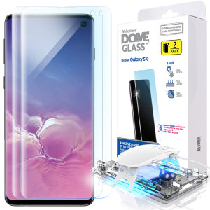 The Dome Glass screen protector twin pack for Galaxy S10 from Whitestone uses a proprietary UV adhesive installation to ensure a perfect fit for your device.  Featuring 9H hardness for absolute protection, as well as 100% touch sensitivity retention.