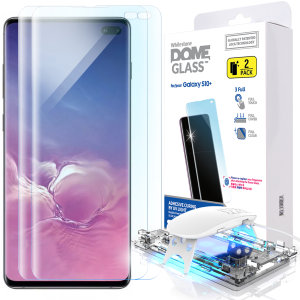The Dome Glass screen protector twin pack for Galaxy S10 Plus from Whitestone uses a proprietary UV adhesive installation to ensure a perfect fit for your device.  Featuring 9H hardness for absolute protection, as well as 100% touch sensitivity retention.