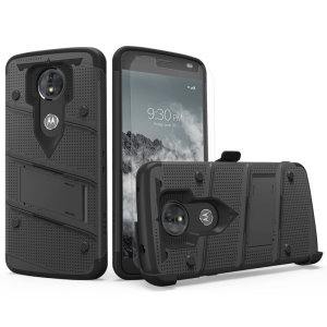 Protect your Motorola Moto E5 from bumps and scrapes with this black Zizo Motorola Moto E5 Cruise Case Bolt Series. A soft (Shock Absorbing) Tetra Polyurethane with an (Impact Resistant) Polycarbonate Shell is the secret behind this case from Zizo