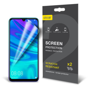 Keep your Huawei P Smart 2019's screen in pristine condition with this Olixar scratch-resistant film screen protector 2-in-1 pack.