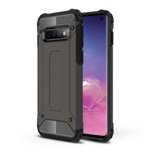 Protect your Samsung Galaxy S10 from bumps and scrapes with this gunmetal Delta Armour case from Olixar. Comprised of an inner TPU section and an outer impact-resistant exoskeleton.