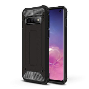 Protect your Samsung Galaxy S10 from bumps and scrapes with this black Delta Armour case from Olixar. Comprised of an inner TPU section and an outer impact-resistant exoskeleton.
