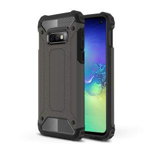 Schützen Sie Ihr Samsung Galaxy S10e vor Stößen und Kratzern mit diesem zweilagigen Rüstungskoffer aus Rotguss von Olixar. Bestehend aus einem inneren TPU-Profil und einem äußeren schlagfesten Exoskelett.
