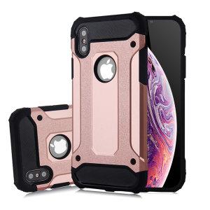 Schützen Sie Ihr iPhone X/XS vor Stößen und Kratzern mit dieser zweilagigen Panzertasche aus Rotgold von Olixar. Bestehend aus einem inneren TPU-Profil und einem äußeren schlagfesten Exoskelett.