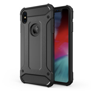 Protect your iPhone XS Max from bumps and scrapes with this black Delta Armour case from Olixar. Comprised of an inner TPU section and an outer impact-resistant exoskeleton.