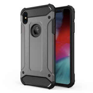 Protect your iPhone XS Max from bumps and scrapes with this gunmetal grey Delta Armour case from Olixar. Comprised of an inner TPU section and an outer impact-resistant exoskeleton.