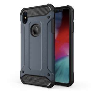 Protect your iPhone XS Max from bumps and scrapes with this slate blue Delta Armour Protective case from Olixar. Comprised of an inner TPU section and an outer impact-resistant exoskeleton.