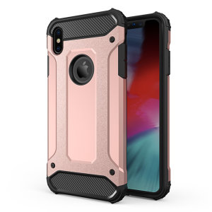 Protect your iPhone XS Max from bumps and scrapes with this rose gold Delta Armour case from Olixar. Comprised of an inner TPU section and an outer impact-resistant exoskeleton.
