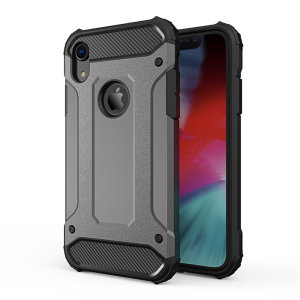 Protect your iPhone XR from bumps and scrapes with this gunmetal grey Delta Armour Protective case from Olixar. Comprised of an inner TPU section and an outer impact-resistant exoskeleton.