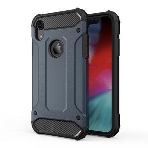 Schützen Sie Ihr iPhone XR vor Stößen und Kratzern mit dieser schieferblauen zweilagigen Panzertasche von Olixar. Bestehend aus einem inneren TPU-Profil und einem äußeren schlagfesten Exoskelett.