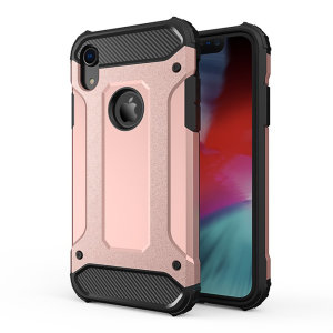 Protect your iPhone XR from bumps and scrapes with this rose gold Delta Armour case from Olixar. Comprised of an inner TPU section and an outer impact-resistant exoskeleton.