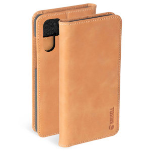 Krusell's 2 Card Sunne Wallet cover in vintage nude combines Nordic chic with Krusell's values of sustainable manufacturing for the socially-aware Huawei P30 Pro owner who wants an elegant genuine leather accessory with extra storage for cash and cards.