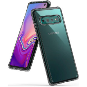 Protect your shiny new Samsung Galaxy S10 with this Rearth Ringke Fusion Dual case in Smoke Black. The clear design will perfectly highlight the stunning contours of the Galaxy S10, whilst keeping it protected from bumps and scratches at all times