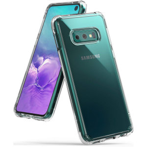 Protect your shiny new  Samsung Galaxy S10e with this Rearth Ringke Fusion Dual Layer bumper case. The clear design will perfectly highlight the stunning contours of the Samsung Galaxy S10e, whilst keeping it protected from bumps and scratches at all time
