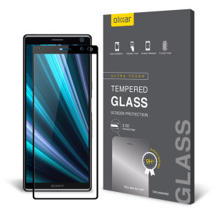 This ultra-thin tempered glass full cover screen protector for the Sony Xperia 10 from Olixar with black front offers toughness, high visibility and sensitivity all in one package.