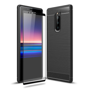 Flexible rugged casing with a premium matte finish non-slip carbon fibre and brushed metal design, the Olixar Sentinel case in black keeps your Sony Xperia 1 protected from 360 degrees with the added bonus of a tempered glass screen protector.