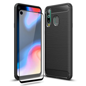 Flexible rugged casing with a premium matte finish non-slip carbon fibre and brushed metal design, the Olixar Sentinel case in black keeps your Samsung Galaxy A8s protected from 360 degrees with the added bonus of a tempered glass screen protector.
