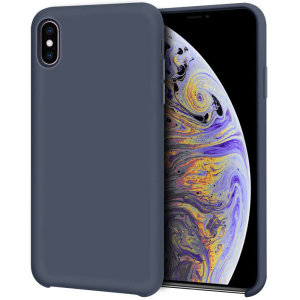 Olixar iPhone XS Max Soft Silicone Case - Midnight Blue
