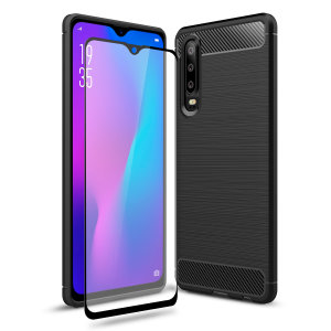 Premium Matte Finish Anti-slip Kulfiber og børstet metal design med fleksibel robust taske, sort Olixar Sentinel taske med forbedret beskyttelsesfolie beskytter Huawei P30 fra 360 grader.