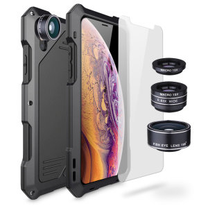 Take your iPhone XS / X photography to the next level with the Titan Clip Armour case from Olixar. Comprised of a 180 degree fisheye, super wide-angle macro and 15x macro lenses in an impact resistant metal case with a glass screen protector.