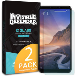 Optically enhanced high definition pack of two glass screen protectors from Rearth Ringke for the Xiaomi Mi Max 3. Features true touch properties and extended coverage.