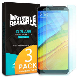 Optically enhanced high definition pack of three glass screen protectors from Rearth Ringke for the Xiaomi Redmi 5 Plus. Features true touch properties and extended coverage.