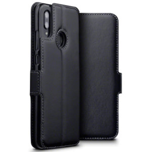 All the benefits of a wallet case but far more streamlined. The Olixar Genuine Leather case in black is the perfect partner for the the Huawei P Smart 2019 owner on the move. What's more, this case transforms into a handy stand to view media.