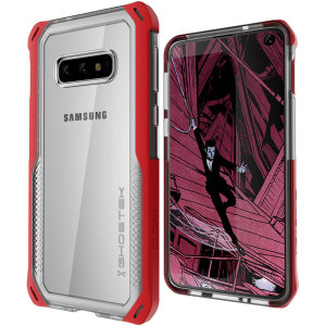 The Cloak 4 Protective case in red and clear from Ghostek provides your Samsung Galaxy S10e with fantastic all-around protection