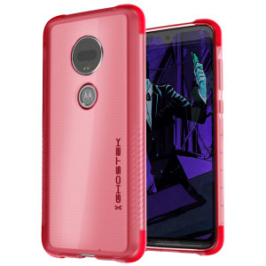 Custom molded for the Motorola Moto G7, this crystal clear Ghostek with pink edges tough case provides a slim fitting, stylish design and reinforced corner protection against shock damage, keeping your device looking great at all times.
