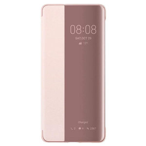 Protect your Huawei P30 Pro's screen and keep up to date with the time, weather, call notifications and more thanks to the intuitively designed smart view window on the pink Huawei flip case. Crafted from the finest materials.