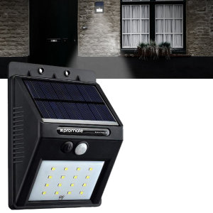 Increase security and safety around your property or business with this solar 200 lumens powered security lamp. Detects motion of up to 5 meters with a 120 degree wide sensing range.No wiring or batteries required.