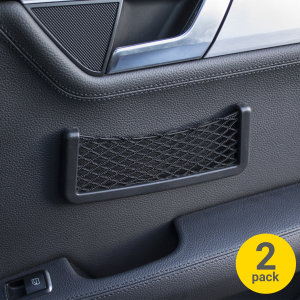 Keep your most important belongings to hand during car journeys with this two pack of sturdy, durable and convenient in-car net mesh holder. Easily affixed to any surface with 3M adhesive, this holder holds smartphones, cards, wallets and more.