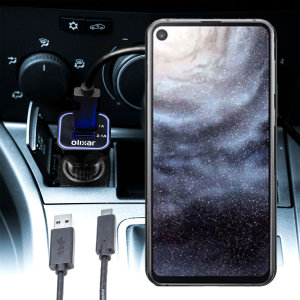 Keep your Samsung Galaxy A8s fully charged on the road with this compatible Olixar high power dual USB 3.1A Car Charger with an included high quality USB to USB-C charging cable.