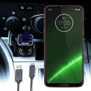 Keep your Motorola Moto G7 fully charged on the road with this compatible Olixar high power dual USB 3.1A Car Charger with an included high quality USB to USB-C charging cable.